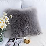 Foindtower Mongolian Plush Faux Fur Square Decorative Throw Pillow Cover Cushion Case New Luxury Series Merino Style for Livingroom Couch Sofa Nursery Bed Home Decor 18x18 Inch (45x45cm) Grey