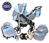 Sportive X2 - Sistema de viaje 3 en 1, silla de paseo, carrito con capazo y silla de coche, RUEDAS GIRATORIAS y accesorios (Sistema de viaje 3 en 1, gris, azul)
