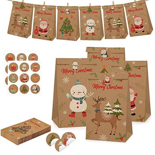 WELLXUNK Calendario Dell'Avvento Fai-da-Te, 12 Pezzi Sacchetti Regalo di Carta di Natale, Avvento Calendario Avvento da Riempire, Sacchetti Regalo di Natale con 18 Adesivi (A)