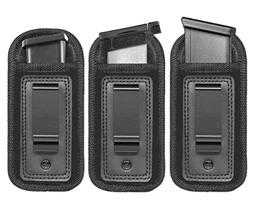 Anjilu 3PC Universal Magazine Holster IWB Clip Concealed Carry 9mm .40 .45 | Mag Holster for Glock 43 17 Sig 1911 S&W M&P | Fits Any 7 10 15 Round Clips for All Pistols | Gun Ammunition Holster