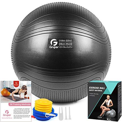 Gruper Yoga Stabilitätsball–Extra Dicker Gymnastikball für Fitness Balance Workout–Anti-Burst Stuhl für Zuhause und Büro Schreibtisch–inkl.Handpumpe und Workout Guide Zugang (Schwarz, 55cm,M)