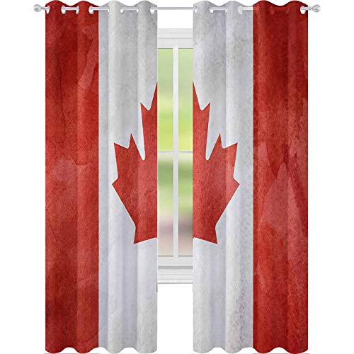 """YUAZHOQI Blackout Window Curtain Watercolor Flag Background Canada 52"""" x 108"""" Curtains for Bedroom"""