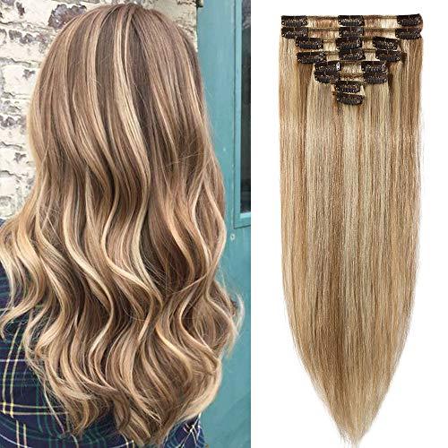 Clip In Extensions Echthaar 35cm - Remy Haarverlängerung 8 Tressen 60g - (#12/613 Light Golden Brown/Bleach Blonde)