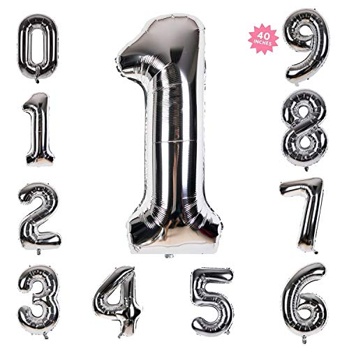 40 Inch Giant Helium Foil Number 0-9 Silver Balloon Birthday Wedding Party Decorations (Silver Number Balloon 1)