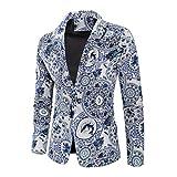 Baohooya Traje Suit Hombre Moderno Boda - Traje de Algodón y Lino Estampado Hawaiano de Estilo étnico Vintage Abrigo Fino Pantalón Esmoquin Abrigo (Azul,L)