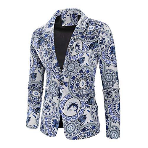 Timogee Herren Sakko Blazer sportlich Slim Fit Modern Herren Slim Fit Samt Einknopf Anzugjack Freizeit Party Gedruckt Langarm Mantel Outwear Top Bluse