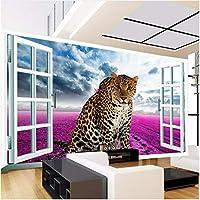 Xbwy 装飾壁画動物のヒョウの紫色の花の壁画壁紙リビングルームの寝室の背景の壁の装飾壁画-150X120Cm