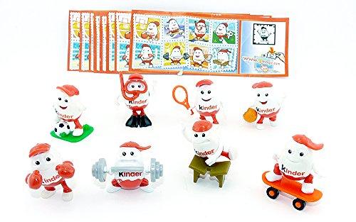 Kinder Überraschung, Komplettsatz Kinderino - Sport Figuren mit 8 Beipackzetteln