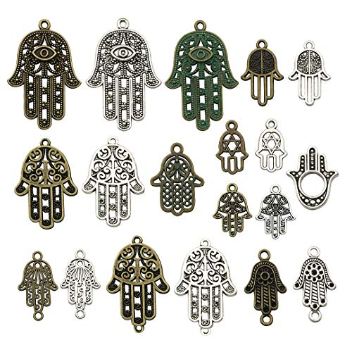iloveDIYbeads 38pcs Craft Supplies Antique Silver Bronze Hamsa Hand of Fatima Symbol Charms Pendants for Crafting, Jewelry Findings Making Accessory for DIY Necklace Bracelet (M141)