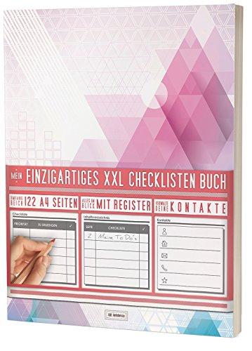 """Mein Einzigartiges XXL Checklistenbuch: 122 A4-Seiten, Softcover, Register uvm. / Für To Do's und Listen / PR501 """"Dreiecke"""""""