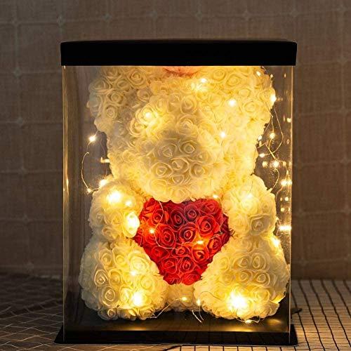 CAOLATOR Rosen-Bär – Rosen-Teddybär – Blumenbär, perfekt für Jahrestag, Rosenbär, für Mütter – inklusive transparenter Geschenkbox 25 cm hoch - über 250+ Blumen. Weiß