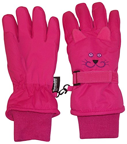 N'Ice Caps Kids Cute Animal Faces Cold Weather Thinsulate Waterproof Gloves (Kitty - Fuchsia 1,...