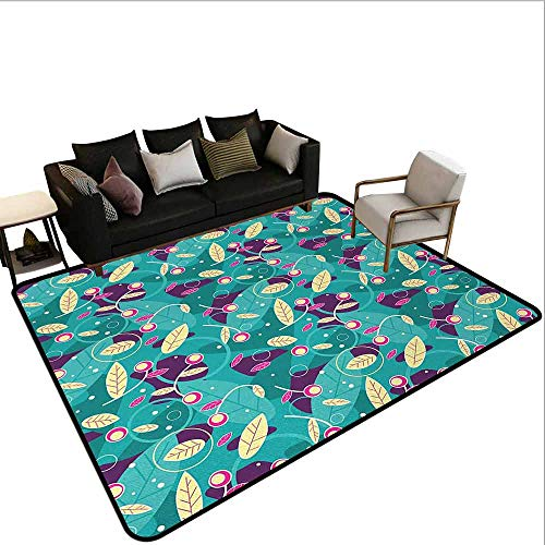 MsShe Vierkant tapijt Abstract, Naadloze Tegel Vector Patroon met Bloemen Ornament Figuren Print,Lime Groen en Jade Groen