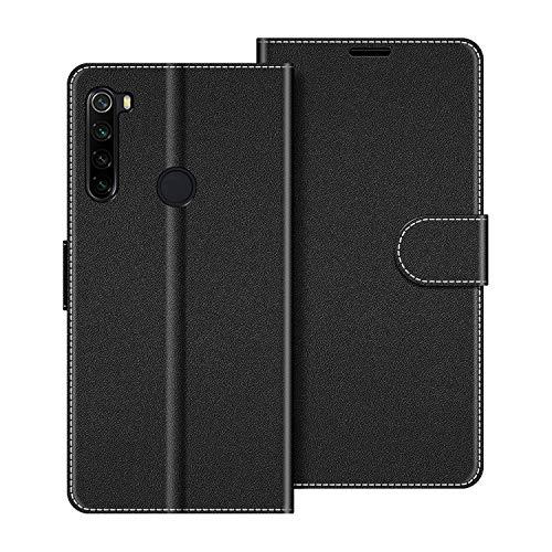 COODIO Handyhülle für Xiaomi Redmi Note 8 Handy Hülle, Xiaomi Redmi Note 8 Hülle Leder Handytasche für Xiaomi Redmi Note 8 Klapphülle Tasche, Schwarz