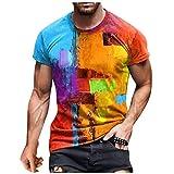 Camiseta de Manga Corta para Hombre Verano Casual ImpresióN 3D Tops de Manga Corta Camisetas de Cuello Redondo Tops Sudaderas de Talla Grande Camisetas Tops Delgados