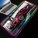 Tapis de Souris de Jeu RVB, Tapis de Souris Souple XXL étendu à LED avec 14 Modes d'éclairage pour Jeux PC, Voiture de Sport Rouge, 800×300 MM