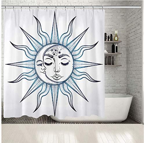 daimin Sonne & Mond Gesicht mit mystischen Natur Astrologie Stil Kunstwerk dunkelblau weiß Duschvorhang 180x180cm mit 12 Haken