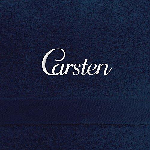 digital print Badehandtuch mit Namen Carsten Bestickt, 70x140 cm, dunkelblau, extra Flauschige 550 g/qm Baumwolle (100prozent), Handtuch mit Namen besticken, Badetuch mit Bestickung