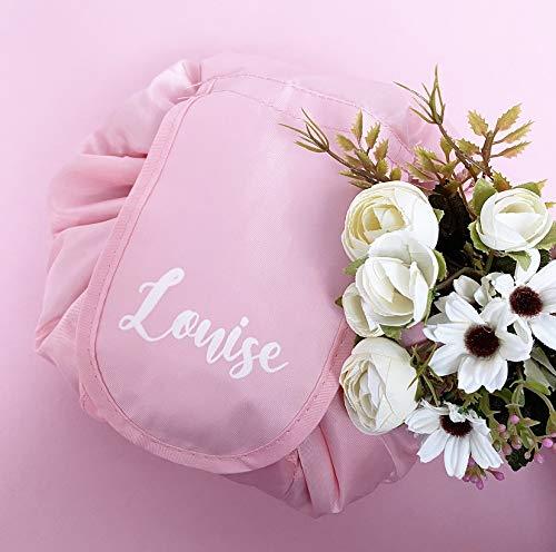 HUNYLONDON Personalised Makeup Drawstring Bag Waterproof Storage Travel Cosmetic Pouch Custom Birthday Gift Bag (Baby Pink)