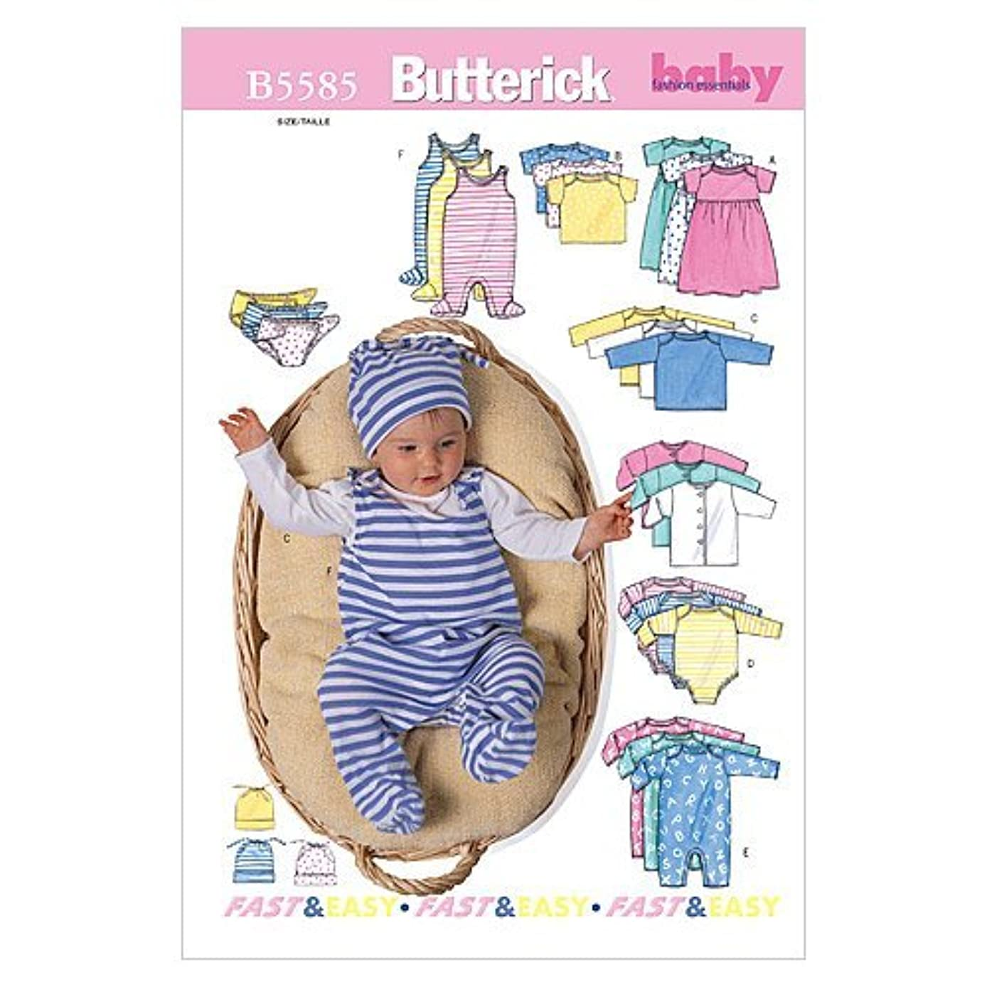 BUTTERICK PATTERNS B5585 Infants' Jacket, Dress, Top, Romper, Diaper Cover and Hat, Size PRE (PRE-NB-S)