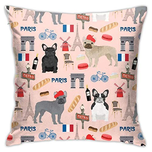 87569dwdsdwd French Bulldog In Paris Frenchie Paris France Dog Dogs Cute Pet Blush Square Pillow Case Home Sofa Decorative 18' X 18'Inch Ultra Soft Comfortable