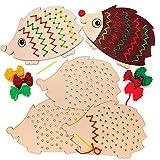 Baker Ross Kits de Tissage hérissons en Bois (Paquet de 4) - Loisirs créatifs pour Enfants
