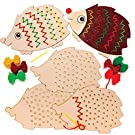Baker Ross AW934 Hedgehog Wooden Threading Kits, Arts and Crafts for Kids (Pack of 4), Assorted