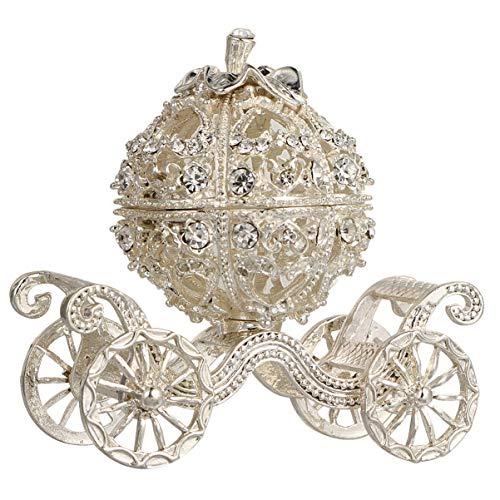 jojofuny Prinzessin Schmuckstück Box Bling Glänzende Schmuckstück Schmuck Ring Display Diamant Fall Container Kürbis Wagen Tisch Skulptur für Frauen Damen