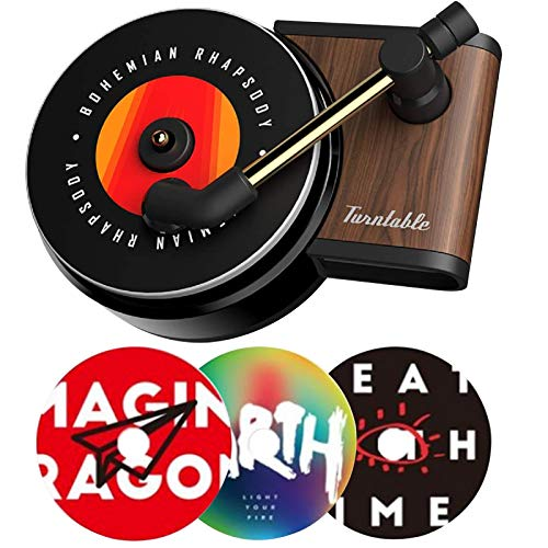YIDEXIN Car Vent Clip Aromatherapy Fragrance Diffuser, Car Air Diffusers Freshener, Car Record Player Design Turntable Perfume Vent Outlet Diffuser (3 Refill Pads) (red-2)