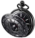 MJSCPHBJK Black Pocket Watch Roman Pattern Steampunk Retro Vintage Quartz Roman Numerals Pocket Watch for Xmas Fathers Day Gift