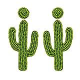 MB-LANHU Personalidad Creativo Stud Oreja Cactus Rice Bead Pendientes Fashion Drop Dangle Ear Green