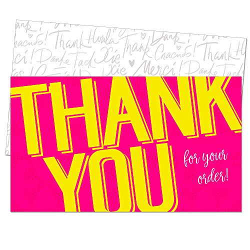 85 Thank You Cards for Small Business - Pink Thank You for Your Business Card - Customer Appreciation Note Cards - Order Shipping Package Insert - Pen Friendly Back - Business Card Size