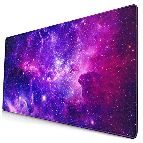 Blue Purple Galaxy Large Gaming Mouse Pad, Space Mouse Mat, Keyboard Pad, Office Desk Mat, Anti-Slip Rubber with Durable Stitched Edge for Office Laptop Computer PC Men Women Kids 15.7 X 30 Inch