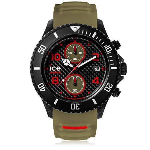 ICE-WATCH - ICE carbon Black Khaki - Men's wristwatch with silicon strap - Chrono - 001318 (Extra large)