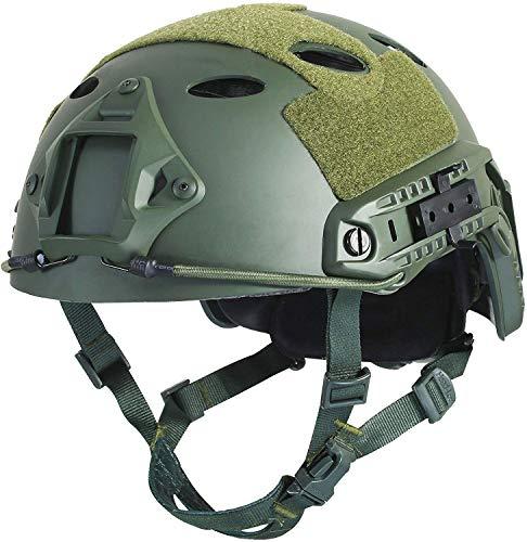 LOOGU Airsoft Helm Ops Core Schutzhelm Taktischer Helm (Typ Fast BJ & PJ) mit Pads und Seitenschienen Sturzhelm für Freizeit Outdoor Paintball