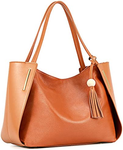Kattee Women s Genuine Leather Tote Handbags Top handle Purses with Tassel Decoration Brown product image