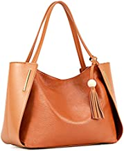 Kattee Women's Genuine Leather Tote Handbags, Top handle Purses with Tassel Decoration(Brown)