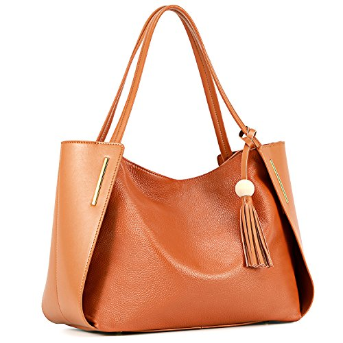 Kattee Women's Genuine Leather Tote Handbags, Top handle Purses with Tassel Decoration(Brown)