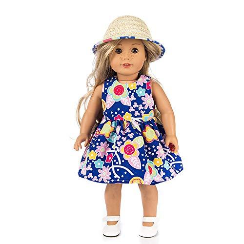 Vêtements pour poupées, YUYOUG 2pcs Robe + Casquette for 18inch American Girl Our Generation Dolls Set (Blue 1)