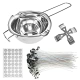 Candle Wicks, Candle Making Kit, with Double Spouts Pot, 120 Pcs Natural Cotton