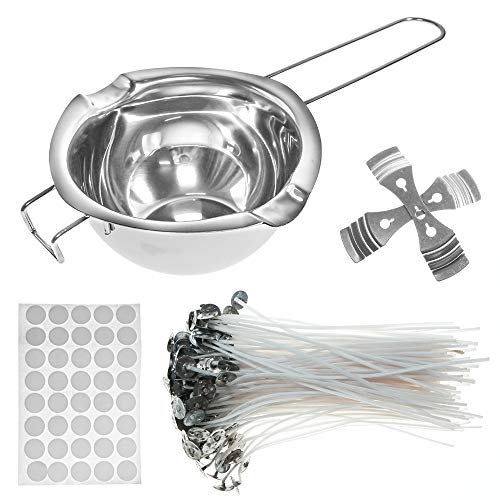 Candle Wicks, Candle Making Kit, with Double Spouts Pot, 120 Pcs Natural Cotton Candle Wicks, 120 Pcs Wick Stickers, 2 Pcs Candle Wicks Holders, Create Scented Candle with Soy Wax, DIY Art Craft Tools