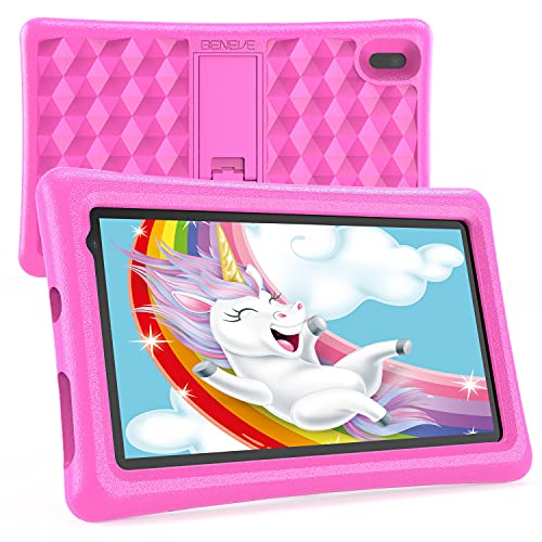 Tablet Niños 7 Pulgadas Android 10 Quad Core BENEVE Tablets PC para Niños WiFi Bluetooth 1024x600 Tablet Infantil 2GB 16GB Doble Cámara Kid-Proof Funda Tablet Niños Educativo (Rosado)