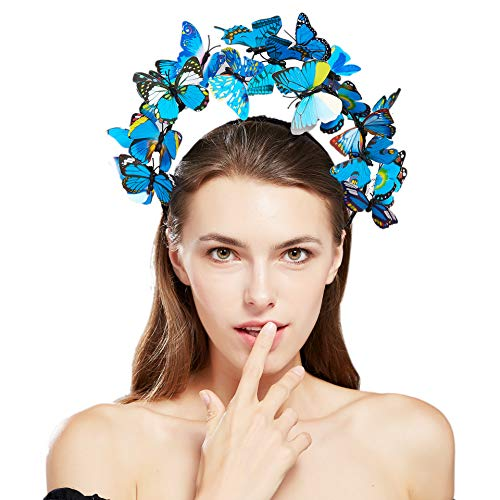 Coucoland Vlinders Halo haarband dames bloemen vlinder Fascinator hoofdband Engelse thee cocktail party haarband dames carnaval kostuum haaraccessoires