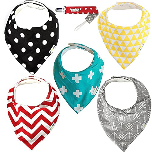 Baby Bandana Dribble Bibs with Adjustable Snaps - 5 Pack, Unisex - Free Pacifier Clip - Ziggy Baby Absorbent Soft Cotton Fleece Backing Drool Bib for Teething Toddlers Infants Babies Boys Girls