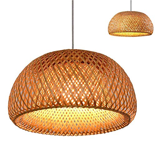 CHEYAL Retro Style Lantern Lámpara Colgante, Pantalla De Bambú, Dormitorio Sala De Estar Lámpara De Techo Teahouse Dining Room Lámpara De Bambú Bar Cafe Club Single Head Lámpara Colgante, E27,A