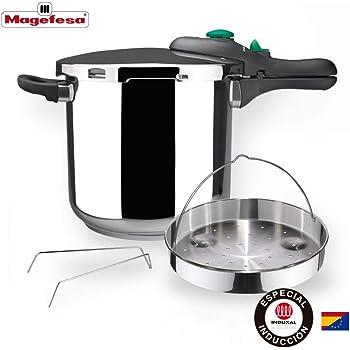MAGEFESA Dynamic Olla a presión Super rápida de fácil Uso, Acero Inoxidable 18/10, Apta para Todo Tipo de cocinas, Incluido inducción. Pack Exclusivo Olla+Cestillo. (6 litros): Amazon.es: Hogar