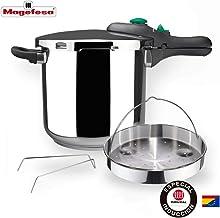 MAGEFESA Dynamic Olla a presión Super rápida de fácil Uso, Acero Inoxidable 18/10, Apta para Todo Tipo de cocinas, Incluido inducción. Pack Exclusivo Olla+Cestillo. (6 litros)