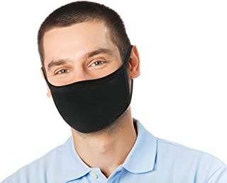 4 Pk Unisex Black Washable Reusable Face Mask & Mouth Cover for Men and Women -2 Layers Breathable Cotton Fabric - USA Seller