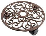 Esschert Design - Carrello portavasi in ghisa, 28 cm, con 3 rotelle, Decorazione: viticci