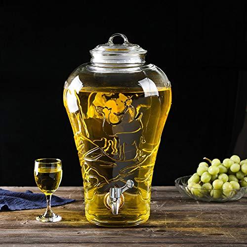 HYXQYJP 5/8/10L Drink Dispenser,Juice Dispenser met Lekvrije Spigot Glas Deksel Hout Base Gemakkelijk schoon te maken, voor Citroen/Thee/Koud Water